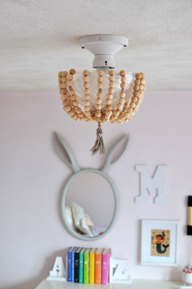 DIY Lighting Ideas - DIY Beaded Light Fixture - Indoor Lighting for Bedroom, Kitchen, Bathroom and Home - Outdoor Do It Yourself Lighting Ideas for the Backyard, Patio, Porch Lights, Chandeliers, Lamps and String Lights https://diyjoy.com/diy-lighting-projects