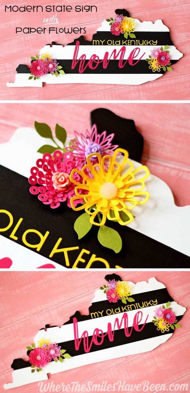 Cool State Crafts - DIY Black & White Striped State Sign with Colorful Paper Flowers - Easy Craft Projects To Show Your Love For Your Home State - Best DIY Ideas Using Maps, String Art Shaped Like States, Quotes, Sayings and Wall Art Ideas, Painted Canvases, Cute Pillows, Fun Gifts and DIY Decor Made Simple - Creative Decorating Ideas for Living Room, Kitchen, Bedroom, Bath and Porch http://diyjoy.com/cool-state-crafts