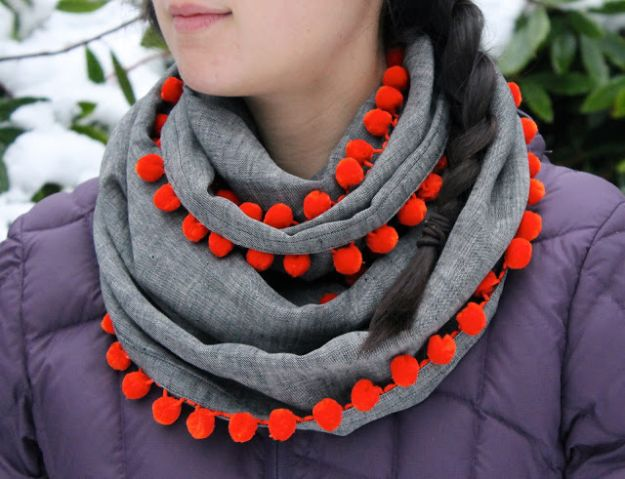 Easy Sewing Projects To Sew For Gifts - DIY Bobble Scarf - Simple Sewing Tutorials and Free Patterns for Making Christmas and Birthday Presents - Cheap Ideas to Make and Sell on Etsy