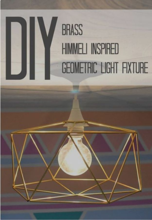 DIY Lighting Ideas - DIY Brass Himmeli Inspired Geometric Light Fixture - Indoor Lighting for Bedroom, Kitchen, Bathroom and Home - Outdoor Do It Yourself Lighting Ideas for the Backyard, Patio, Porch Lights, Chandeliers #diy
