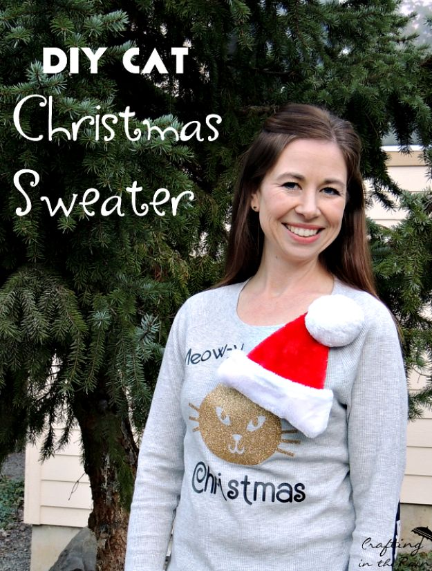 DIY Ugly Christmas Sweaters - DIY Cat Christmas Sweater - No Sew and Easy Sewing Projects - Ideas for Him and Her to Wear to Holiday Contest or Office Party Outfit - Funny Couples Sweater, Mens Womens and Kids #christmas