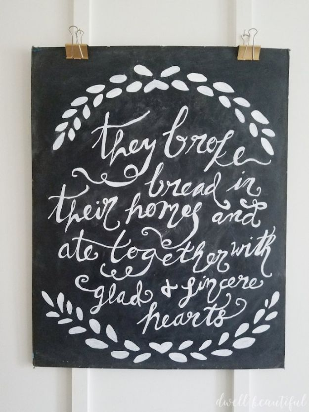 Magnolia Homes Decor Ideas - DIY Chalkboard Wall Art - DIY Decor Inspired by Chip and Joanna Gaines - Fixer Upper Dining Room, Coffee Tables, Light Fixtures for Your House - Do It Yourself Decorating On A Budget With Farmhouse Style Decorations for the Home