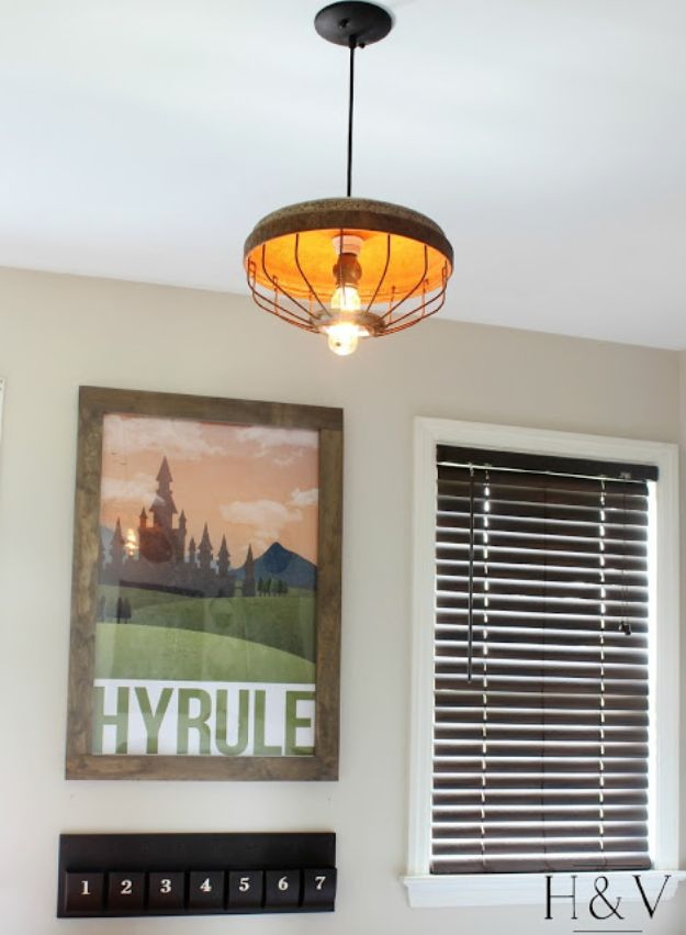 DIY Lighting Ideas - DIY Chicken Feeder Light Pendant - Indoor Lighting for Bedroom, Kitchen, Bathroom and Home - Outdoor Do It Yourself Lighting Ideas for the Backyard, Patio, Porch Lights, Chandeliers #diy