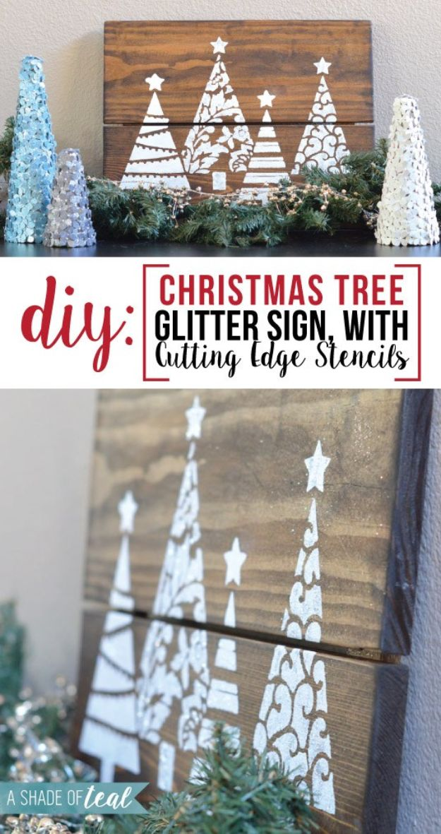 DIY Christmas Decorations - DIY Christmas Tree Glitter Sign - Easy Handmade Christmas Decor Ideas - Cheap Xmas Projects to Make for Holiday Decorating - Home, Porch, Mantle, Tree, Lights #diy #christmas #diydecor #holiday