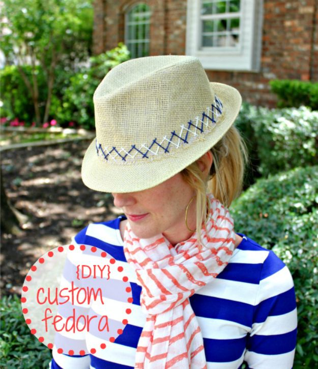 DIY Hats - DIY Custom Fedora - Creative Do It Yourself Hat Tutorials for Making a Hat - Step by Step Tutorial for Cute and Easy Baseball Hat, Cowboy Hat, Flowers or Floral Tea Party Ideas, Kids and Adults, Knit Cap for Babies http://diyjoy.com/diy-hats