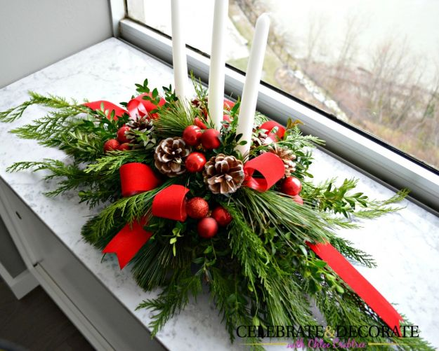 DIY Christmas Decorations - DIY Evergreen Christmas Centerpiece - Easy Handmade Christmas Decor Ideas - Cheap Xmas Projects to Make for Holiday Decorating - Home, Porch, Mantle, Tree, Lights #diy #christmas #diydecor #holiday