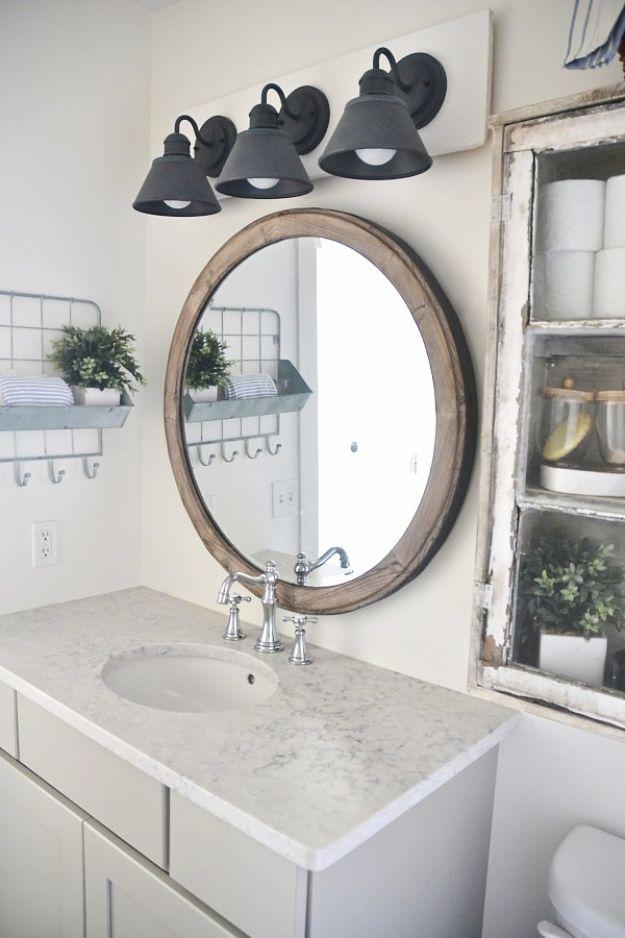 Cheap Bathroom Decor Ideas - DIY Farmhouse Bathroom Vanity Light Fixture - DIY Decor and Home Decorating Ideas for Bathrooms - Easy Wall Art, Rugs and Bath Mats, Shower Curtains, Tissue and Toilet Paper Holders #diy #bathroom #homedecor