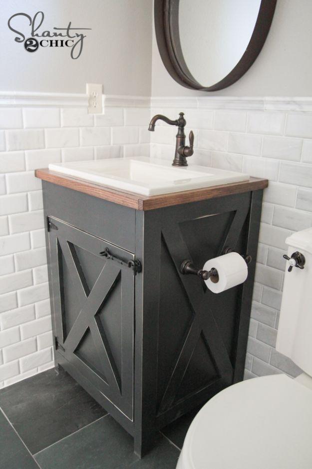 Cheap Bathroom Decor Ideas - DIY Farmhouse Bathroom Vanity - DIY Decor and Home Decorating Ideas for Bathrooms - Easy Wall Art, Rugs and Bath Mats, Shower Curtains, Tissue and Toilet Paper Holders #diy #bathroom #homedecor