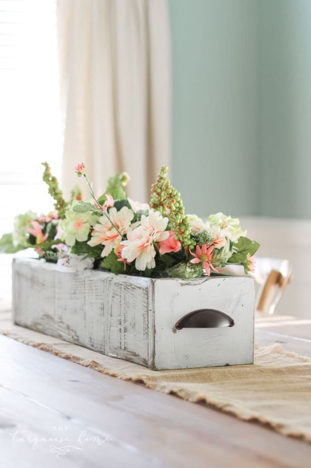 Magnolia Homes Decor Ideas - DIY Farmhouse Wooden Box Centerpiece DIY Decor Inspired by Chip and Joanna Gaines - Fixer Upper Dining Room, Coffee Tables, Light Fixtures for Your House - Do It Yourself Decorating On A Budget With Farmhouse Style Decorations for the Home