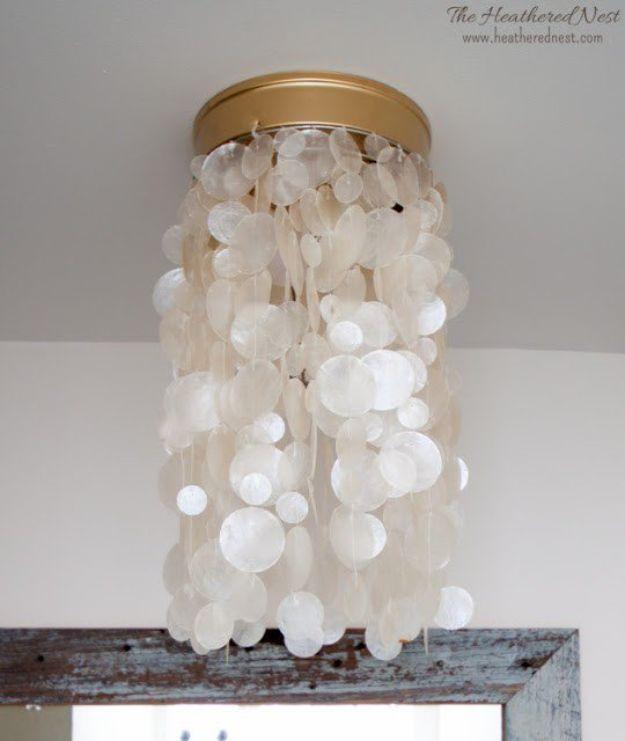 DIY Lighting Ideas - DIY Flush Mount Capiz Light - Indoor Lighting for Bedroom, Kitchen, Bathroom and Home - Outdoor Do It Yourself Lighting Ideas for the Backyard, Patio, Porch Lights, Chandeliers #diy