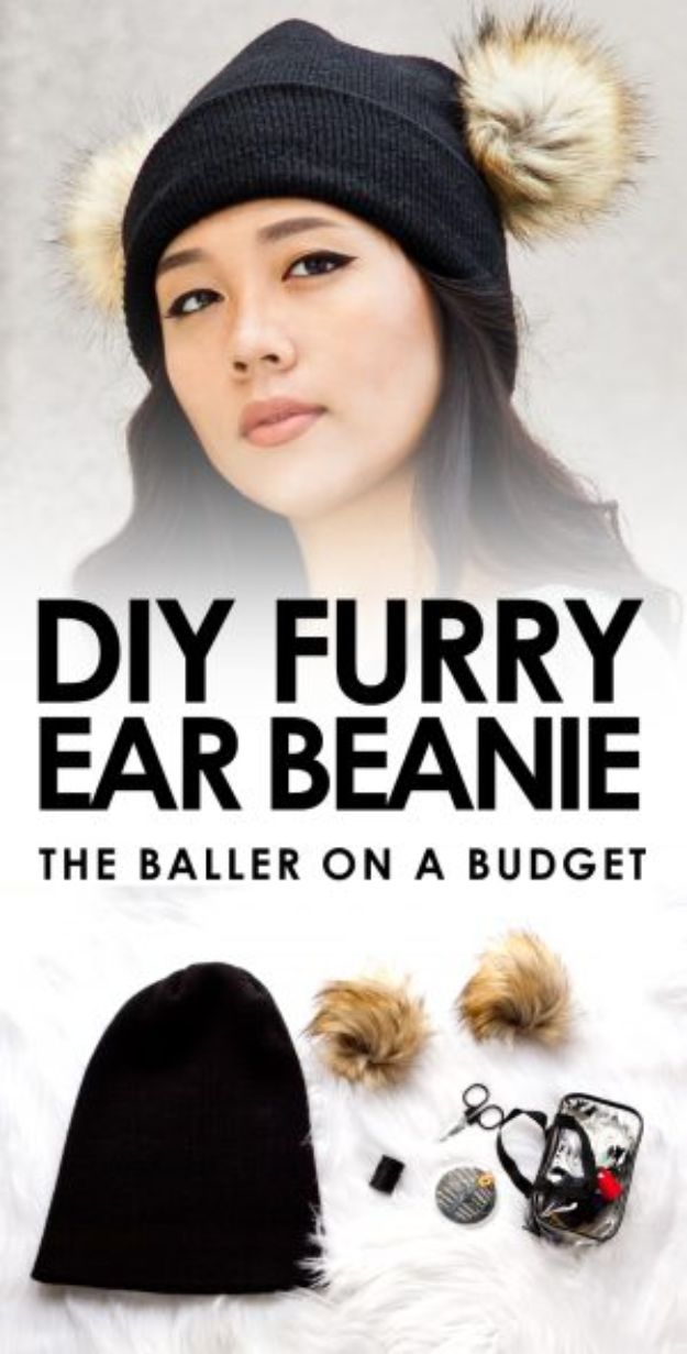 Easy Sewing Projects To Sew For Gifts - DIY Furry Ear Beanie - Simple Sewing Tutorials and Free Patterns for Making Christmas and Birthday Presents - Cheap Ideas to Make and Sell on Etsy