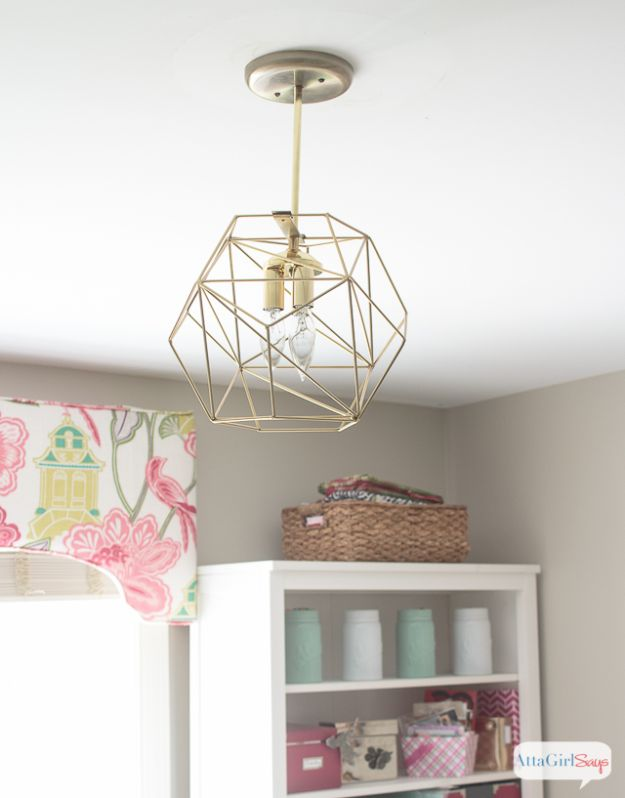 DIY Lighting Ideas - DIY Geometric Globe Pendant Light - Indoor Lighting for Bedroom, Kitchen, Bathroom and Home - Outdoor Do It Yourself Lighting Ideas for the Backyard, Patio, Porch Lights, Chandeliers, Lamps and String Lights https://diyjoy.com/diy-lighting-projects