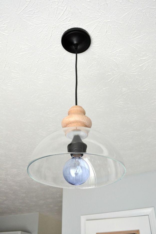 DIY Lighting Ideas - DIY Glass Pendant Light Fixture - Indoor Lighting for Bedroom, Kitchen, Bathroom and Home - Outdoor Do It Yourself Lighting Ideas for the Backyard, Patio, Porch Lights, Chandeliers #diy