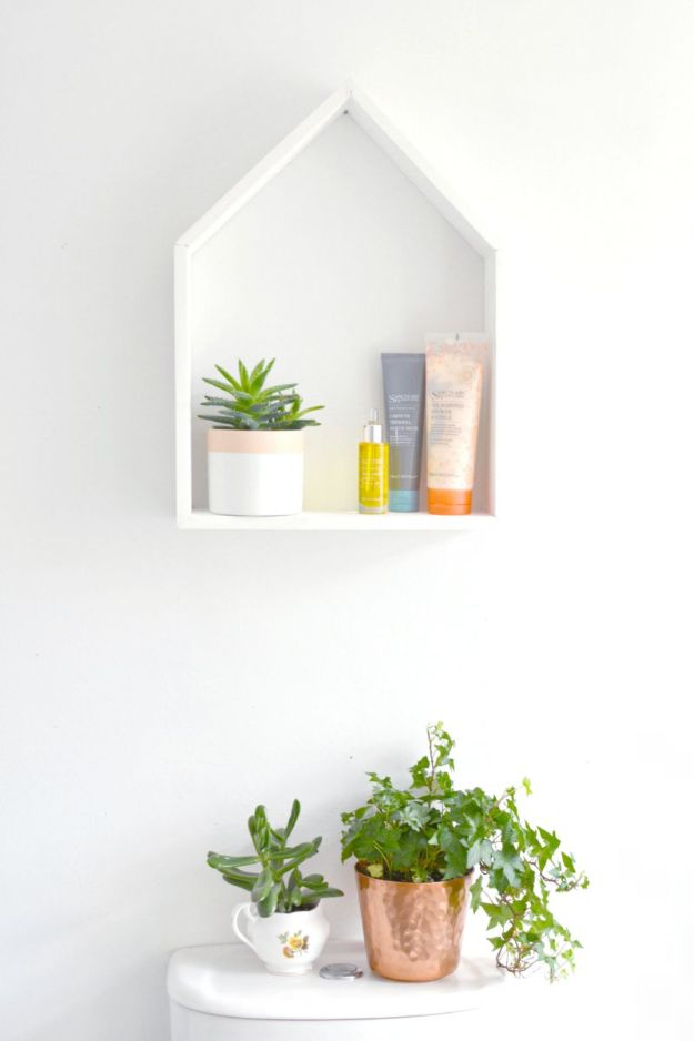 Cheap Bathroom Decor Ideas - DIY House Shelving - DIY Decor and Home Decorating Ideas for Bathrooms - Easy Wall Art, Rugs and Bath Mats, Shower Curtains, Tissue and Toilet Paper Holders https://diyjoy.com/cheap-diy-bathroom-decor