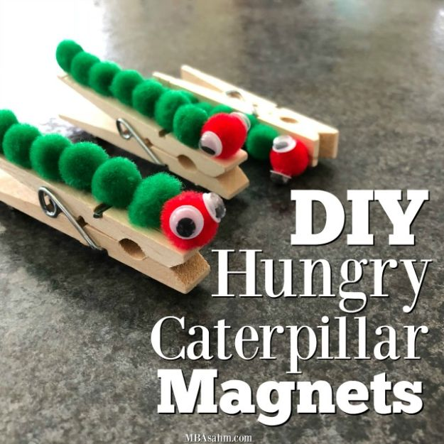 Easy Crafts for Kids - DIY Hungry Caterpillar Clothespin Magnets - Quick DIY Ideas for Children - Boys and Girls Love These Cool Craft Projects - Indoor and Outdoor Fun at Home - Cheap Playtime Activities #kidscrafts