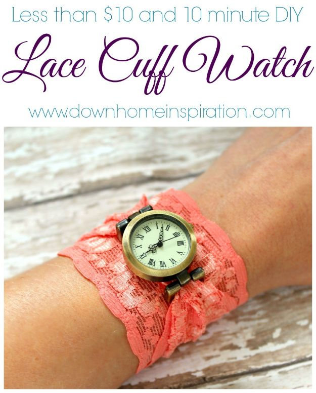 Easy Sewing Projects To Sew For Gifts - DIY Lace Cuff Watch - Simple Sewing Tutorials and Free Patterns for Making Christmas and Birthday Presents - Cheap Ideas to Make and Sell on Etsy http://diyjoy.com/quick-diy-gifts-sewing-projects - Simple Sewing Tutorials and Free Patterns for Making Christmas and Birthday Presents - Cheap Ideas to Make and Sell on Etsy http://diyjoy.com/quick-diy-gifts-sewing-projects