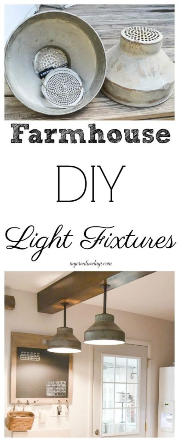 DIY Lighting Ideas - DIY Light Fixtures For The Kitchen - Indoor Lighting for Bedroom, Kitchen, Bathroom and Home - Outdoor Do It Yourself Lighting Ideas for the Backyard, Patio, Porch Lights, Chandeliers, Lamps and String Lights https://diyjoy.com/diy-lighting-projects
