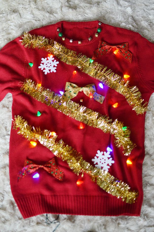 DIY Ugly Christmas Sweaters - DIY Light Up Ugly Christmas Sweater - No Sew and Easy Sewing Projects - Ideas for Him and Her to Wear to Holiday Contest or Office Party Outfit - Funny Couples Sweater, Mens Womens and Kids #christmas