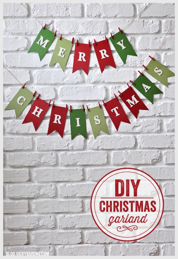 DIY Christmas Decorations - DIY Merry Christmas Garland - Easy Handmade Christmas Decor Ideas - Cheap Xmas Projects to Make for Holiday Decorating - Home, Porch, Mantle, Tree, Lights #diy #christmas #diydecor #holiday
