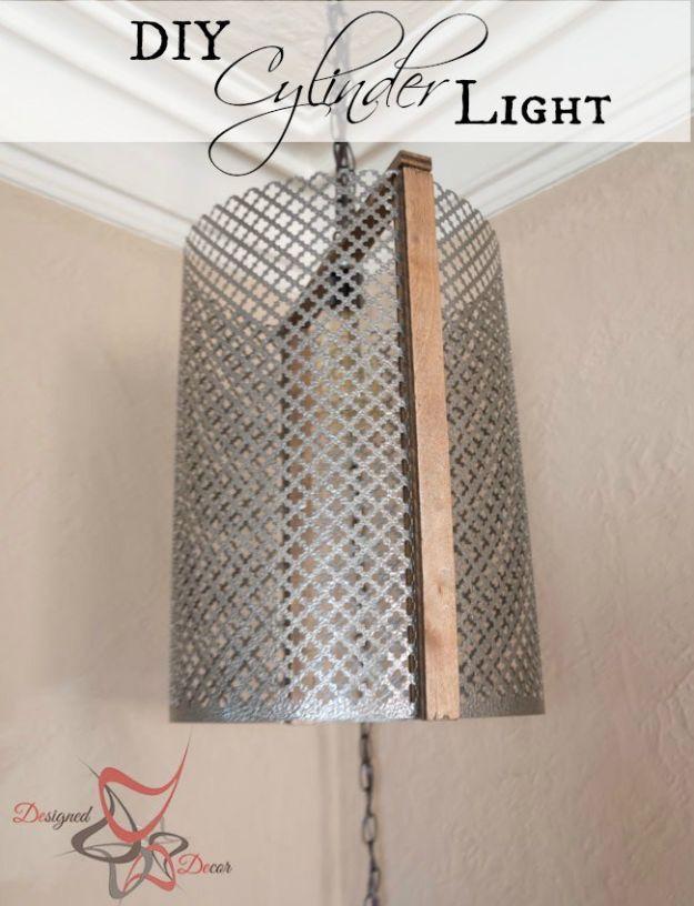 DIY Lighting Ideas - DIY Metal Cylinder Light - Indoor Lighting for Bedroom, Kitchen, Bathroom and Home - Outdoor Do It Yourself Lighting Ideas for the Backyard, Patio, Porch Lights, Chandeliers #diy