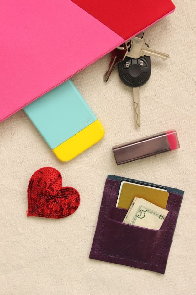 Easy Sewing Projects To Sew For Gifts - DIY Mini Leather Wallet - Simple Sewing Tutorials and Free Patterns for Making Christmas and Birthday Presents - Cheap Ideas to Make and Sell on Etsy