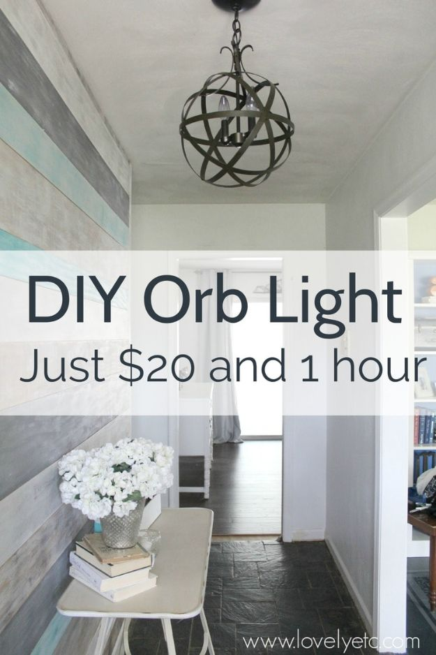 DIY Lighting Ideas - DIY Orb Light - Indoor Lighting for Bedroom, Kitchen, Bathroom and Home - Outdoor Do It Yourself Lighting Ideas for the Backyard, Patio, Porch Lights, Chandeliers, Lamps and String Lights https://diyjoy.com/diy-lighting-projects