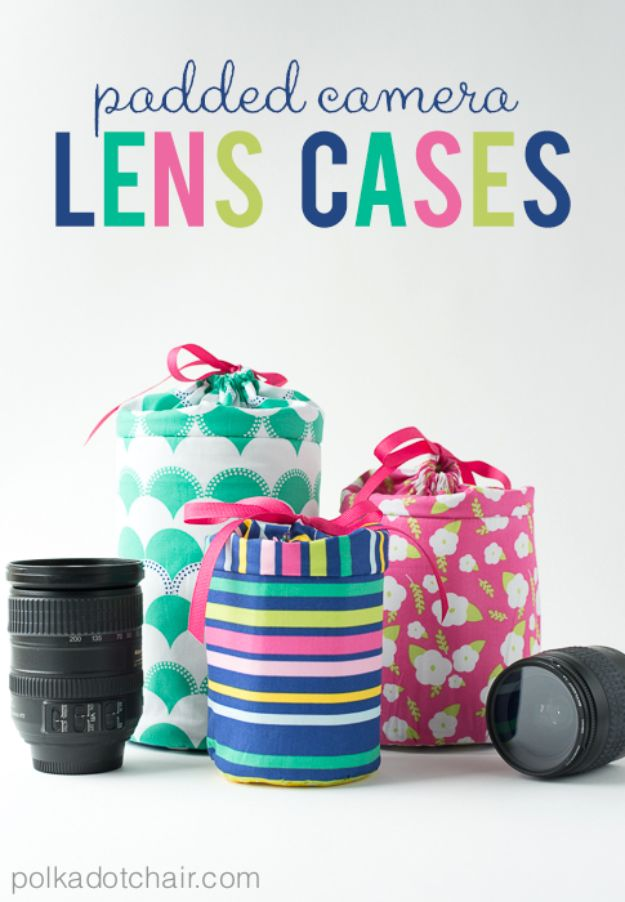 Easy Sewing Projects To Sew For Gifts - DIY Padded Camera Lens Case - Simple Sewing Tutorials and Free Patterns for Making Christmas and Birthday Presents - Cheap Ideas to Make and Sell on Etsy http://diyjoy.com/quick-diy-gifts-sewing-projects - Simple Sewing Tutorials and Free Patterns for Making Christmas and Birthday Presents - Cheap Ideas to Make and Sell on Etsy http://diyjoy.com/quick-diy-gifts-sewing-projects