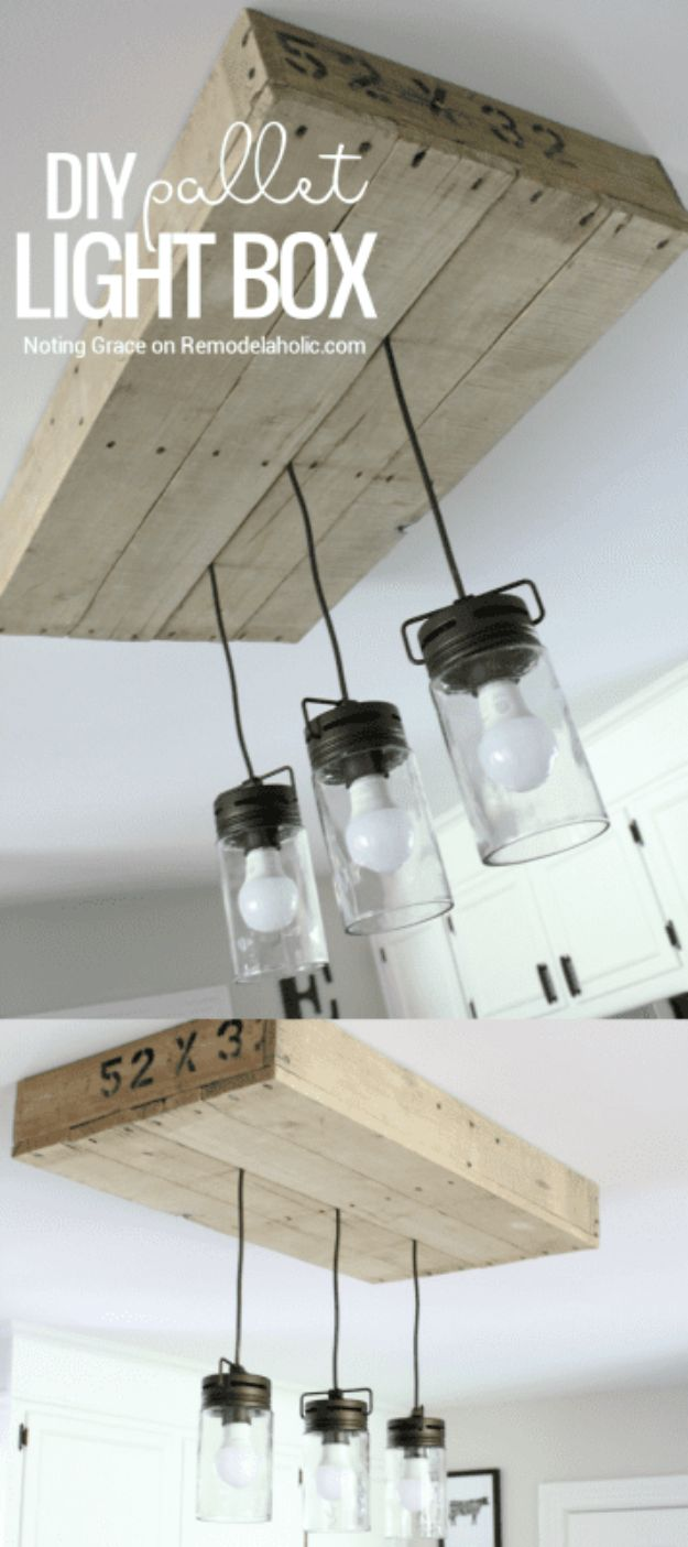 DIY Lighting Ideas - DIY Pallet Light Box - Indoor Lighting for Bedroom, Kitchen, Bathroom and Home - Outdoor Do It Yourself Lighting Ideas for the Backyard, Patio, Porch Lights, Chandeliers, Lamps and String Lights https://diyjoy.com/diy-lighting-projects