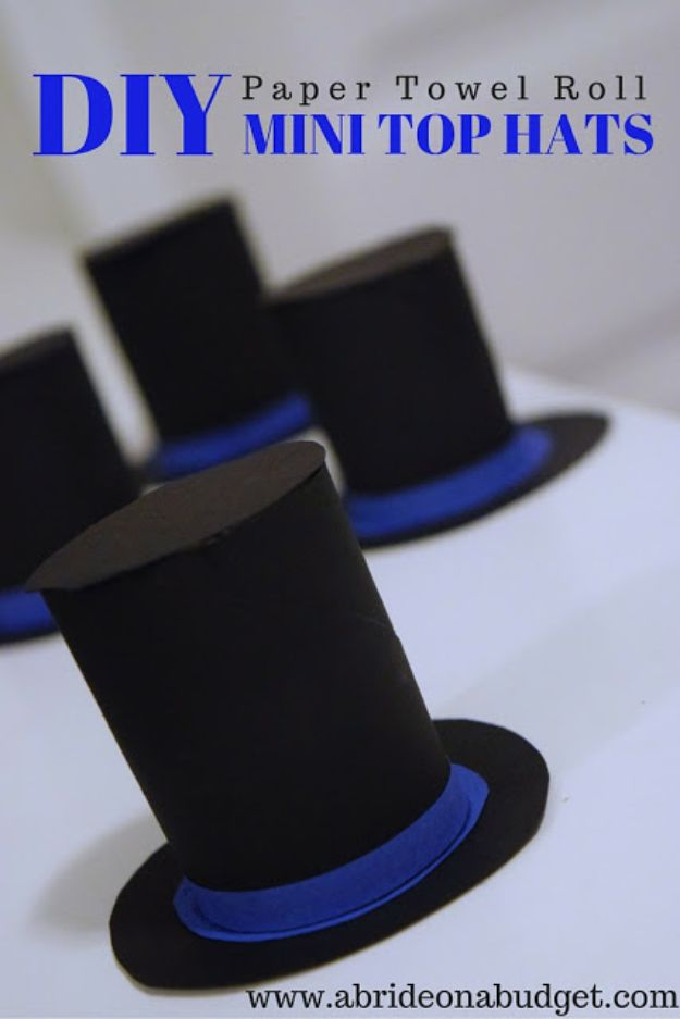 DIY Hats - DIY Paper Towel Roll Mini Top Hats - Creative Do It Yourself Hat Tutorials for Making a Hat - Step by Step Tutorial for Cute and Easy Baseball Hat, Cowboy Hat, Flowers or Floral Tea Party Ideas, Kids and Adults, Knit Cap for Babies http://diyjoy.com/diy-hats