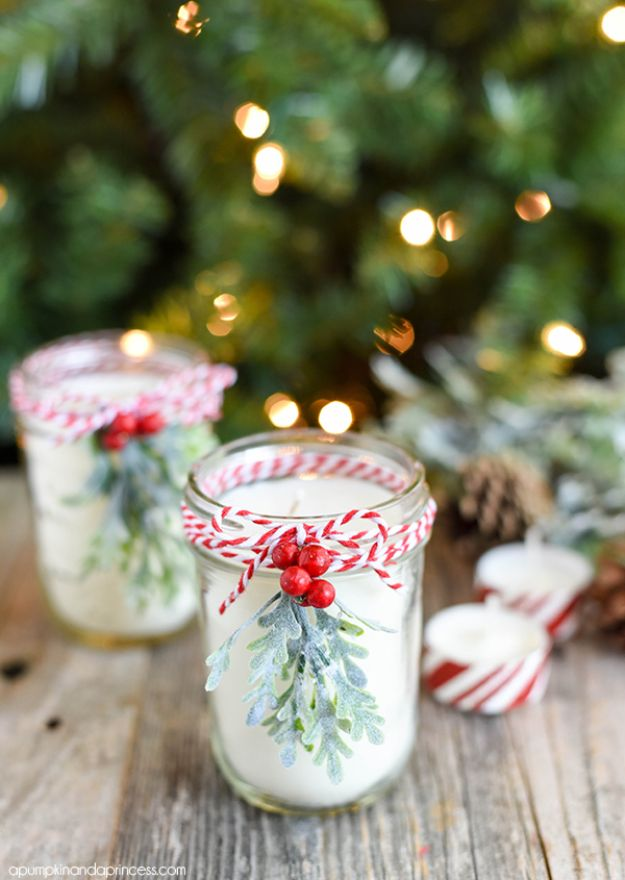 Easy DIY Christmas Gifts - DIY Peppermint Mason Jar Candles - Cheap Homemade Christmas Gifts for the Holidays