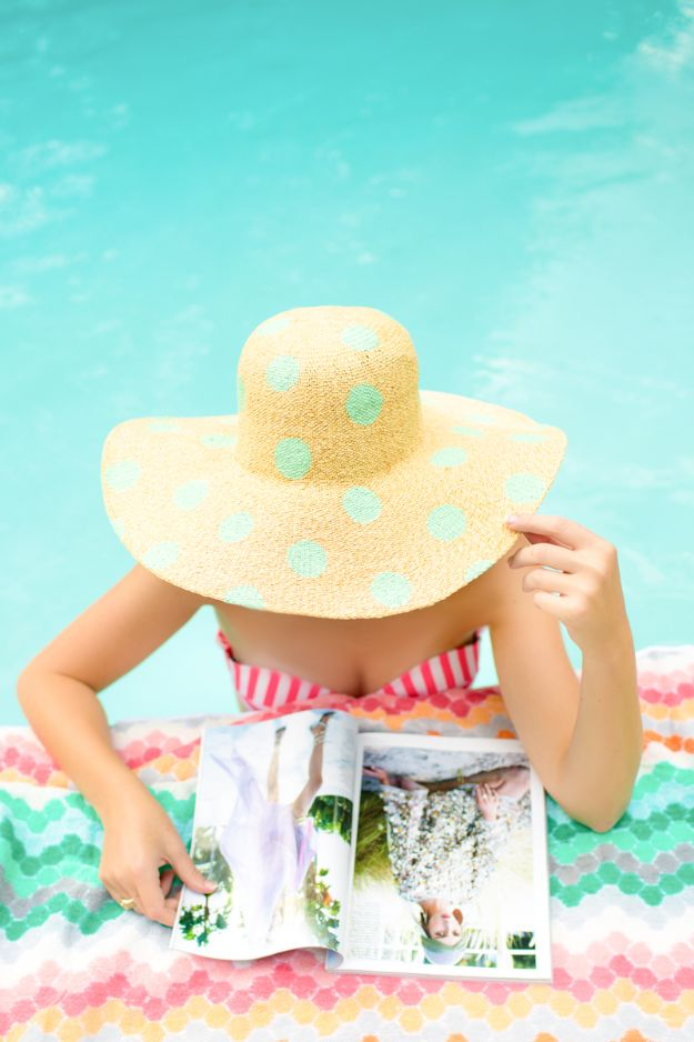 DIY Hats - DIY Polka Dot Floppy Hat - Creative Do It Yourself Hat Tutorials for Making a Hat - Step by Step Tutorial for Cute and Easy Baseball Hat, Cowboy Hat, Flowers or Floral Tea Party Ideas, Kids and Adults, Knit Cap for Babies http://diyjoy.com/diy-hats