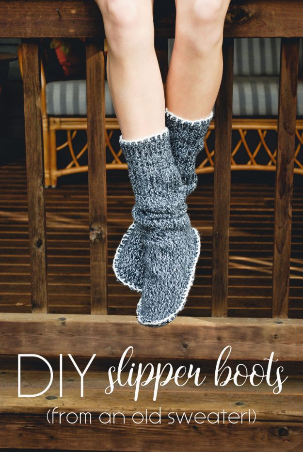 Easy Sewing Projects To Sew For Gifts - DIY Slipper Boots - Simple Sewing Tutorials and Free Patterns for Making Christmas and Birthday Presents - Cheap Ideas to Make and Sell on Etsy http://diyjoy.com/quick-diy-gifts-sewing-projects - Simple Sewing Tutorials and Free Patterns for Making Christmas and Birthday Presents - Cheap Ideas to Make and Sell on Etsy http://diyjoy.com/quick-diy-gifts-sewing-projects