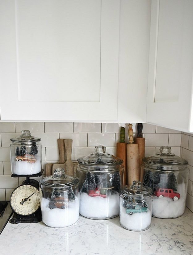 DIY Christmas Decorations - DIY Snow Globe Jars - Easy Handmade Christmas Decor Ideas - Cheap Xmas Projects to Make for Holiday Decorating - Home, Porch, Mantle, Tree, Lights #diy #christmas #diydecor #holiday