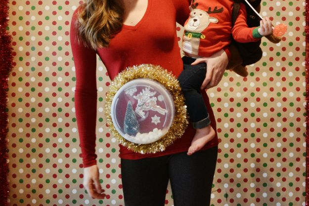 DIY Ugly Christmas Sweaters - DIY Snowglobe Maternity Ugly Christmas Sweater - No Sew and Easy Sewing Projects - Ideas for Him and Her to Wear to Holiday Contest or Office Party Outfit - Funny Couples Sweater, Mens Womens and Kids #christmas