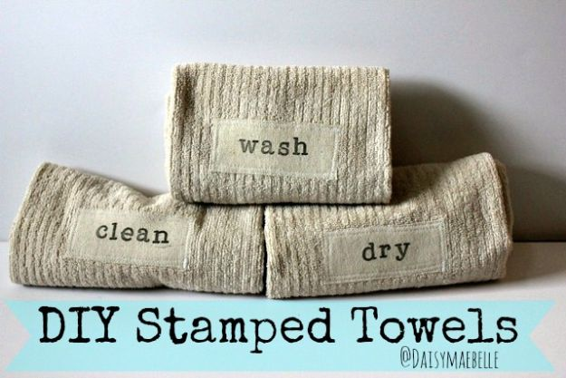 Cheap Bathroom Decor Ideas - DIY Stamped Hand Towels - DIY Decor and Home Decorating Ideas for Bathrooms - Easy Wall Art, Rugs and Bath Mats, Shower Curtains, Tissue and Toilet Paper Holders https://diyjoy.com/cheap-diy-bathroom-decor