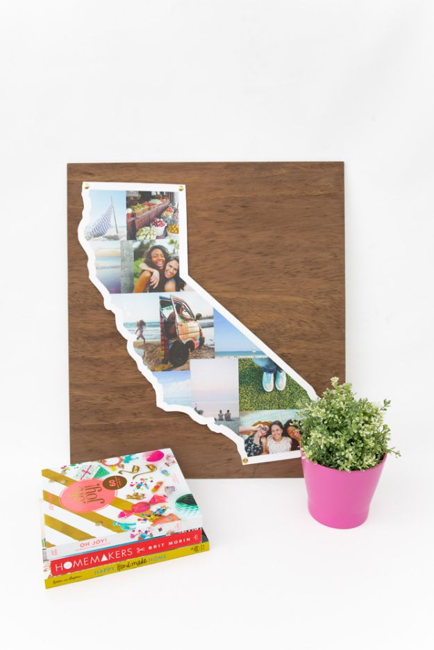 Cool State Crafts - DIY State Photo Collage - Easy Craft Projects To Show Your Love For Your Home State - Best DIY Ideas Using Maps, String Art Shaped Like States, Quotes, Sayings and Wall Art Ideas, Painted Canvases, Cute Pillows, Fun Gifts and DIY Decor Made Simple - Creative Decorating Ideas for Living Room, Kitchen, Bedroom, Bath and Porch http://diyjoy.com/cool-state-crafts