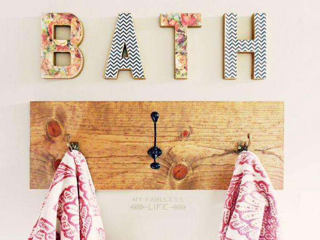 Cheap Bathroom Decor Ideas - DIY Towel Rack - DIY Decor and Home Decorating Ideas for Bathrooms - Easy Wall Art, Rugs and Bath Mats, Shower Curtains, Tissue and Toilet Paper Holders #diy #bathroom #homedecor