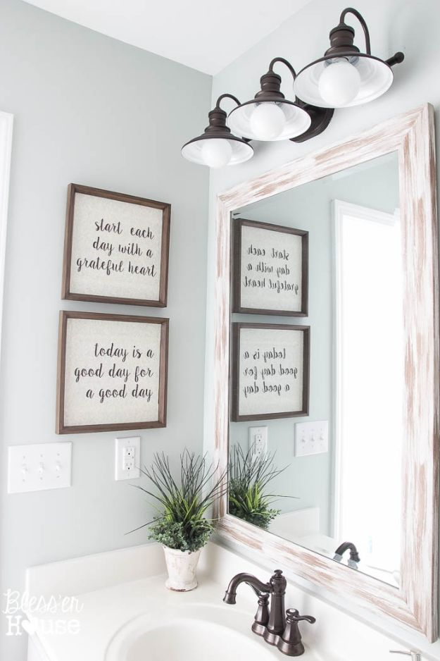 Cheap Bathroom Decor Ideas - DIY Typography Signs - DIY Decor and Home Decorating Ideas for Bathrooms - Easy Wall Art, Rugs and Bath Mats, Shower Curtains, Tissue and Toilet Paper Holders #diy #bathroom #homedecor