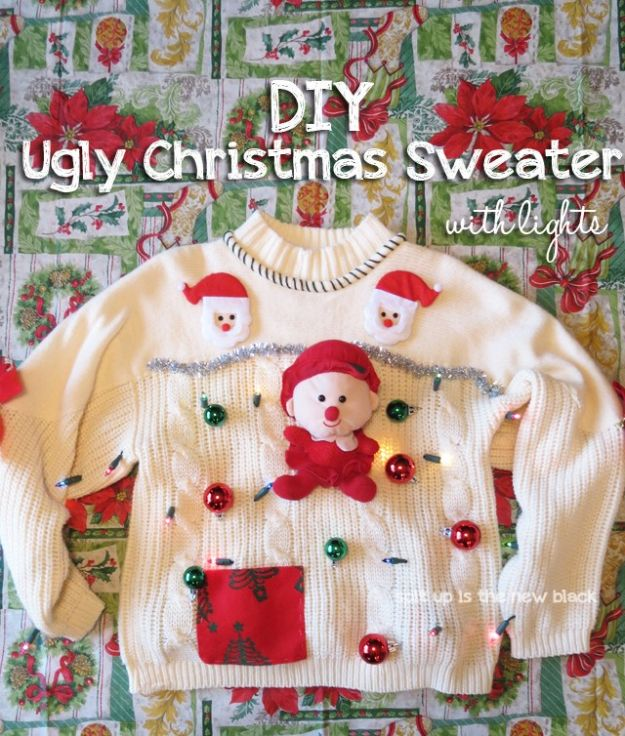 DIY Ugly Christmas Sweaters - DIY Ugly Christmas Sweater With Lights - No Sew and Easy Sewing Projects - Ideas for Him and Her to Wear to Holiday Contest or Office Party Outfit - Funny Couples Sweater, Mens Womens and Kids #christmas