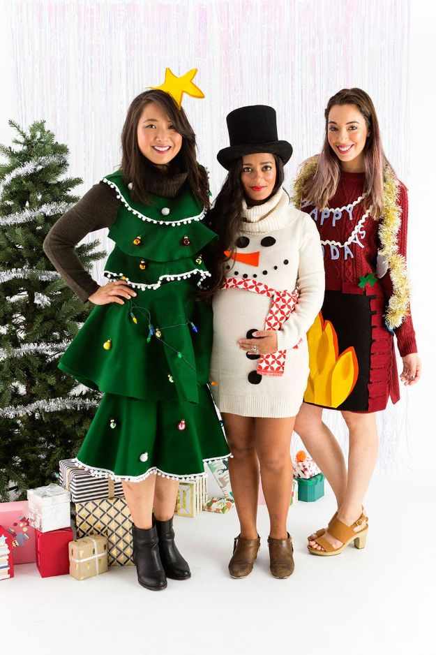 DIY Ugly Christmas Sweaters - DIY Ugly Sweater Dress - No Sew and Easy Sewing Projects - Ideas for Him and Her to Wear to Holiday Contest or Office Party Outfit - Funny Couples Sweater, Mens Womens and Kids #christmas