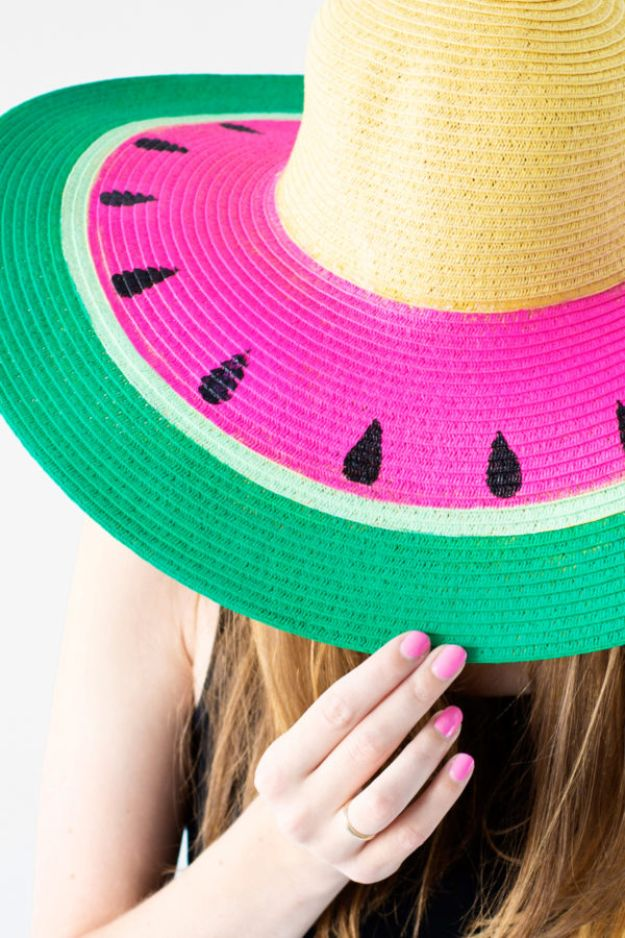 DIY Hats - DIY Watermelon Floppy Hat - Creative Do It Yourself Hat Tutorials for Making a Hat - Step by Step Tutorial for Cute and Easy Baseball Hat, Cowboy Hat, Flowers or Floral Tea Party Ideas, Kids and Adults, Knit Cap for Babies http://diyjoy.com/diy-hats