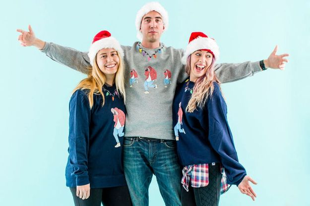 DIY Ugly Christmas Sweaters - DIY the Sold Out Drake Christmas Sweatshirt - No Sew and Easy Sewing Projects - Ideas for Him and Her to Wear to Holiday Contest or Office Party Outfit - Funny Couples Sweater, Mens Womens and Kids https://diyjoy.com/diy-ugly-christmas-sweaters