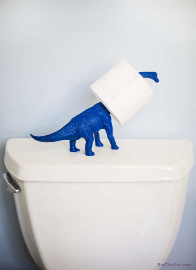 Cheap Bathroom Decor Ideas - Dinosaur Toilet Paper Holder - DIY Decor and Home Decorating Ideas for Bathrooms - Easy Wall Art, Rugs and Bath Mats, Shower Curtains, Tissue and Toilet Paper Holders #diy #bathroom #homedecor