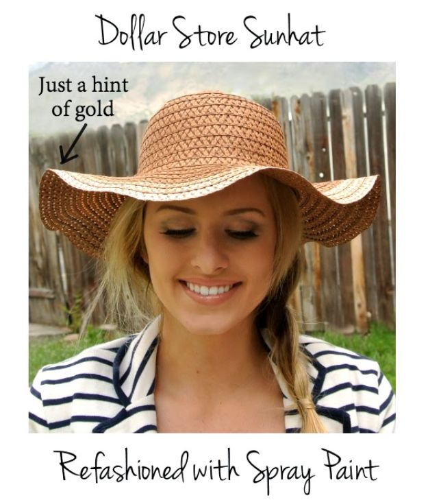 DIY Hats - Dollar Store Sun Hat Refashion - Creative Do It Yourself Hat Tutorials for Making a Hat - Step by Step Tutorial for Cute and Easy Baseball Hat, Cowboy Hat, Flowers or Floral Tea Party Ideas, Kids and Adults, Knit Cap for Babies http://diyjoy.com/diy-hats