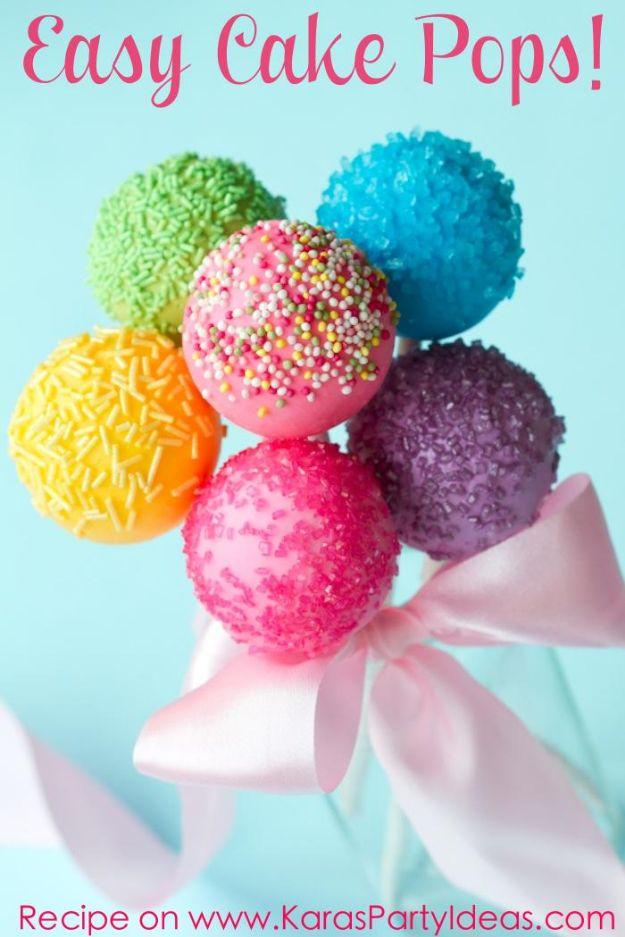 Cake Pop Recipes and Ideas - Easy Cake Pops - Easy Recipe for Chocolate, Funfetti Birthday, Oreo, Red Velvet - Wedding and Christmas DIY #dessertrecipes #cakepops https://diyjoy.com/cake-pop-recipes