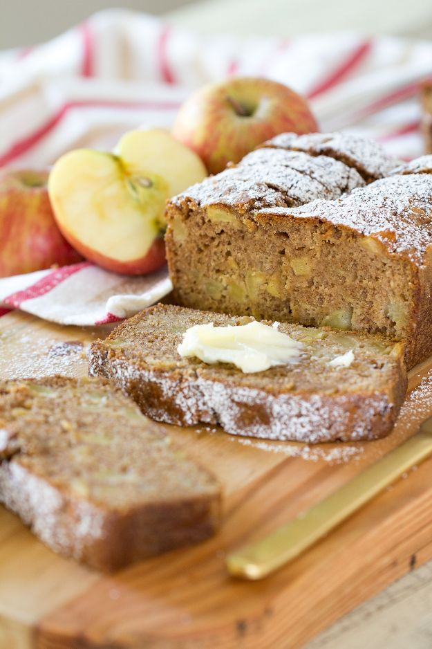Breakfast Breads - Easy Cinnamon Spice Apple Bread - Homemade Breakfast Bread Recipes - Healthy Fruit, Nut, Banana and Vegetable Recipe Ideas - Best Brunch Dishes