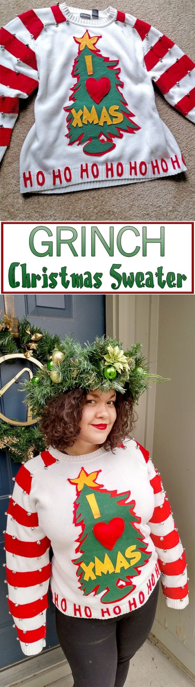 DIY Ugly Christmas Sweaters - Easy DIY Grinch Sweater - No Sew and Easy Sewing Projects - Ideas for Him and Her to Wear to Holiday Contest or Office Party Outfit - Funny Couples Sweater, Mens Womens and Kids #christmas