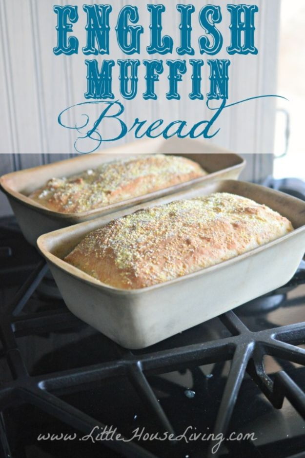 Breakfast Breads - Easy English Muffin Bread - Homemade Breakfast Bread Recipes - Healthy Fruit, Nut, Banana and Vegetable Recipe Ideas - Best Brunch Dishes #breakfastrecipes #brunch https://diyjoy.com/breakfast-bread-recipes