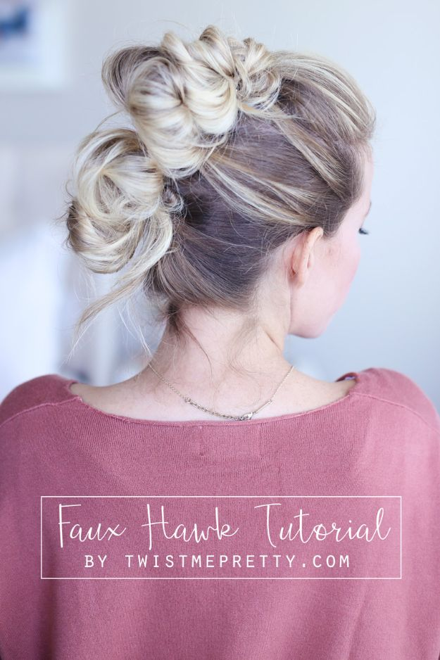 Holiday Hairstyles - Easy Faux Hawk - Cute DIY Hair Styles for Christmas and New Years Eve, Special Occasion - Updos, Braids, Buns, Ponytails, Half Up Half Down Looks #hairstyles