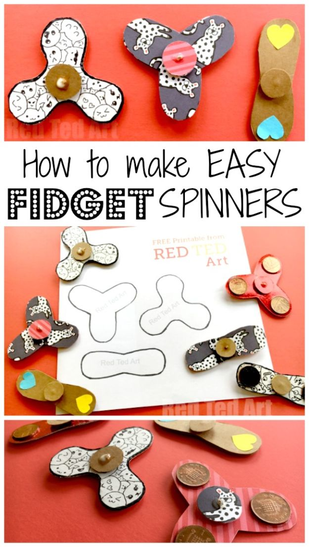 Easy Crafts for Kids - Easy Fidget Spinner DIY - Quick DIY Ideas for Children - Boys and Girls Love These Cool Craft Projects - Indoor and Outdoor Fun at Home - Cheap Playtime Activities #kidscrafts